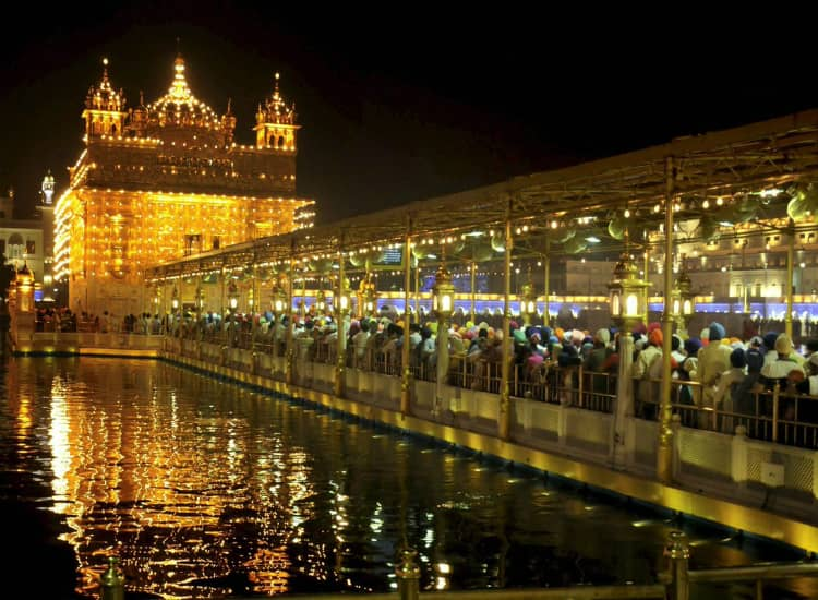 Illuminated view of the Golden Temple in Diwali