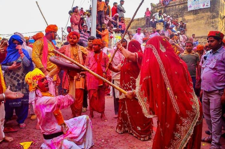 Lathmar Holi is celebrated in Barsana